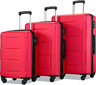 Merax Expandable 3 Piece Sets with TSA Lock, Lightweight Hardside Luggage with Spinner Wheels, Red, One_Size