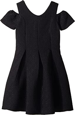 Us Angels Cold Shoulder Fit & Flare Brocade Dress (Big Kids)