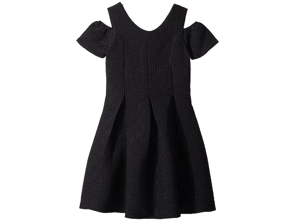 Us Angels Cold Shoulder Fit Flare Brocade Dress (Big Kids) (Navy) Girl