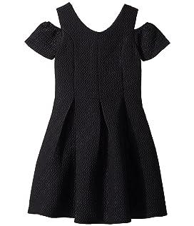 Cold Shoulder Fit & Flare Brocade Dress (Big Kids)