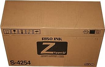 10 Riso Brand S-4254 Z Type Black Ink Tubes, For Risograph RZ / EZ / MZ Series Duplicators