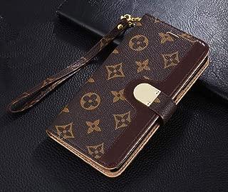 Luxury Elegant Bifold Magnetic Leather Clip Pocket Women Men Girls Boys Flip Wallet case for Apple iPhone 7 Plus and iPhone 8 Plus (Big Floral Monogram) (Brown)