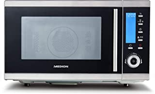 Unsere Empfehlung MEDION MD 15501 4 in 1 Mikrowelle mit Grill 25 Liter, 900 Watt, 1100 Watt Grill, 2500 Watt Heißluft, 10 Automatik-Programme silber