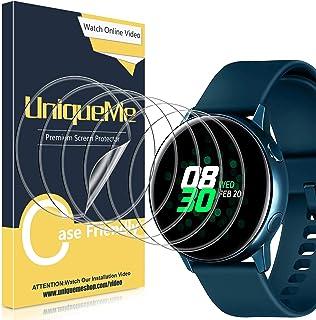 UniqueMe [6Pack] Protector de Pantalla para Samsung Galaxy Watch Active 40mm / Samsung Galaxy Watch Active 2 40mm, Película Transparente de Burbuja de TPU Huella Digital Disponible