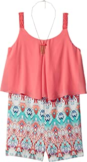 Amy Byer Girls' Big Popover Tank with Print Short, Color Coral, L