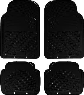 Carfactory - Alfombra Goma Universal, modelo TIGA, color negro, 4 piezas.