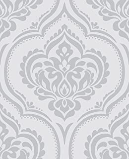 DL40576 - Glitz Room Soft Grey Damask Raised Print Fine Decor Wallpaper