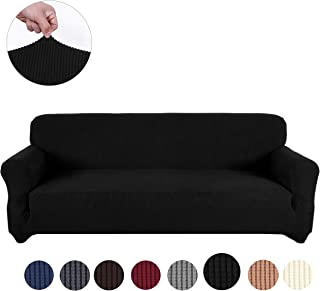 sancua Stretch Spandex Sofa Cover 3 Seat Couch Cover Anti-Slip Sofa Slipcover with Elastic Bottom for Living Room Furniture Protector Couch Slipcover for Dogs, Cats and Pets (Sofa, Black)