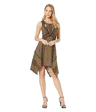 BCBGMAXAZRIA Mixed Print Handkerchief Dress (Striped Pyramid/Vivid Viola) Women