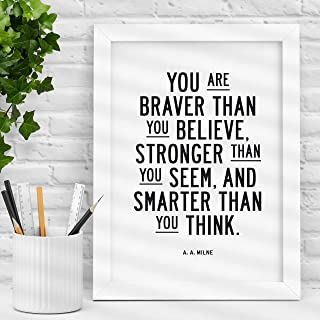 You Are Braver Than You Believe Typography Poster Wall Decor AA Milne Quote Motivational Print Inspirational Poster Home Decor
