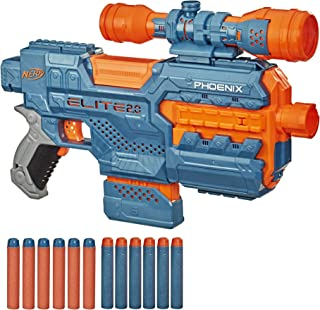 NERF Elite 2.0 Phoenix CS-6 Motorized Blaster, 12 Official Darts, 6-Dart Clip, Scope, Tactical Rails, Barrel and Stock Att...