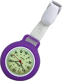 Glow Dial Nurse Watch - Clip-on Silicone (Infection Control) - Violet