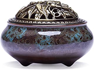 UOON Ceramic Stick Incense Burner and Cone Incense Holder (Blue)