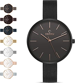 Obaku Womens Classic and Modern Dress Watch with Stainless Steel Mesh Band in Black, Blue, Silver, Gold and Rose Gold or Leather Band in Blue and Pink | Scratch & Water Resistant | 36MM 3-Handed Watch