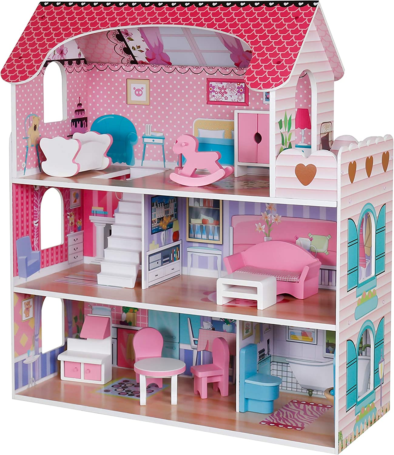 Pidoko Kids Wooden Dollhouse - Includes 12 Pcs Furniture Accessories