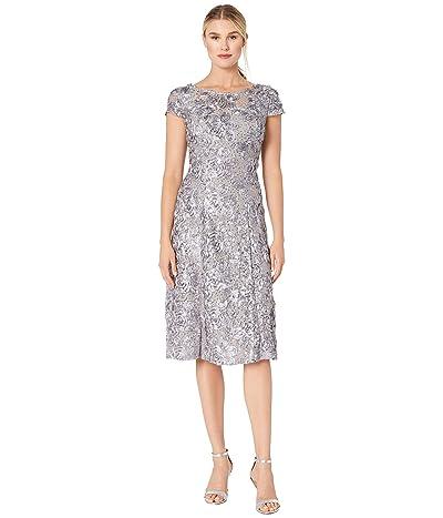 Alex Evenings Tea Length A-Line Rosette Dress (Dove) Women
