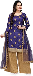 Festive Traditional Women's Plazzo Suit - Paper Silk Top with Embroidery, Sequence net Plazzo Pants Ethnic wear