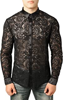 Men's See Through Flower Lace Sheer Blouse Long Sleeve Button Down Shirts