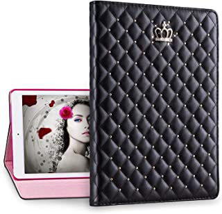 Cute New 2017 iPad Case, Awsaccy(TM) Pretty Imperial Crown Bling Diamond Glitter Smart Stand Folio Case Cover Drop Proof Auto Wake Sleep Function Girl Girly Women for Apple New iPad 9.7-inch, Black