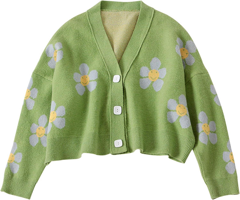 VLOJELRY Women's Flower Long Sleeve Open Front Short Cardigan Casual Loose V Neck Button Down Knit Cardigan Sweaters Outwear