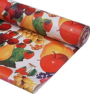 Kuber Industries Flower Design PVC Wardrobe Kitchen Drawer Cupboard Cabinet Shelf Mat, Shelf Liner 5 Mtr (Cream) - CTKTC04...