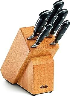 Fissler alaska / Messer-Set, bestückt 6-teilig Messerblock aus Holz inkl. Koch Brot Schäl, Schinken-& Universal-Messer