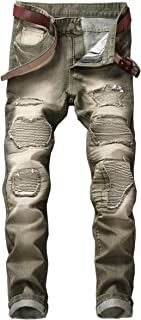 Men's Ripped Jeans Slim Fit Straight Leg Distressed Stretch Jeans Pants