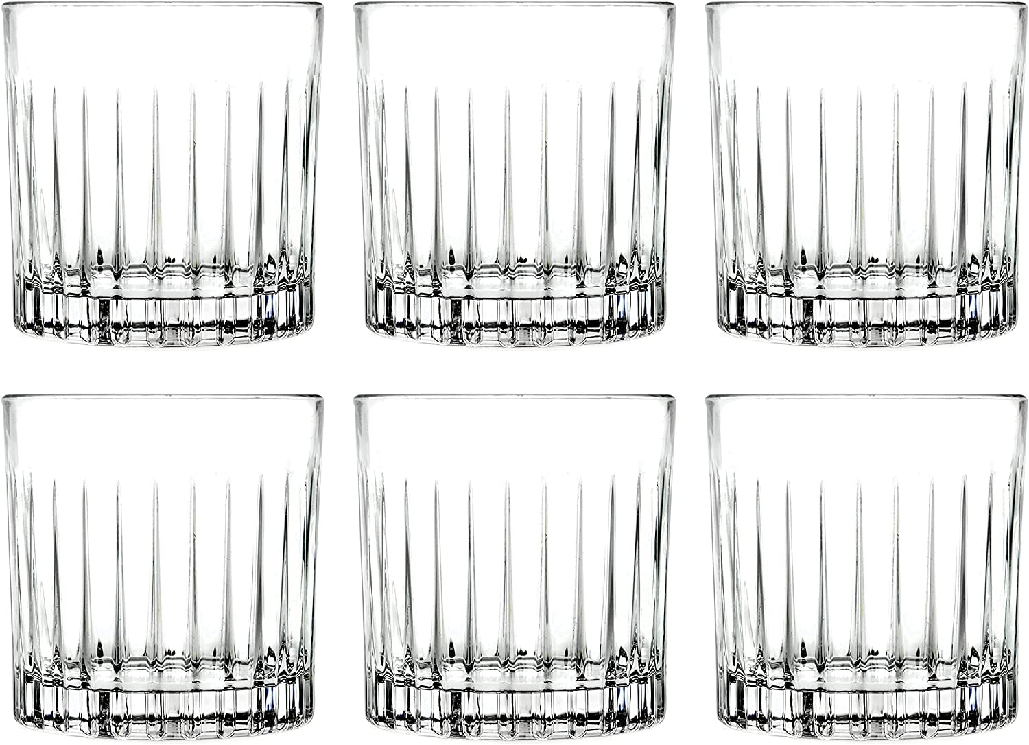 Tumbler Glass - Double Old Fashioned - Set of 6 - Glasses - Designed DOF Crystal Glass Tumblers - For Whiskey - Bourbon - Water - Beverage - Drinking Glasses - 12 oz. - Made in Europe By Barski