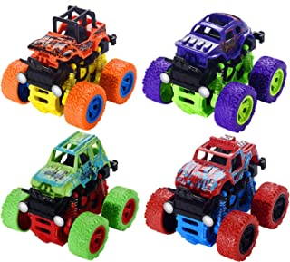 Monster Trucks for Boys Toys- Friction Powered 4-Pack Push and Pull Car, Monster Jam Trucks Playset Inertia Toy Early Educ...