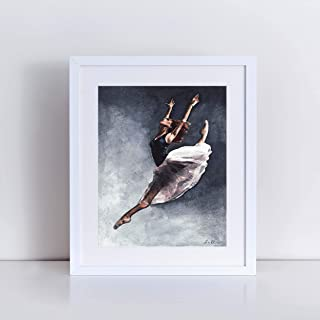 Misty Copeland Graceful Leap Ballet Art Print of Watercolor Painting