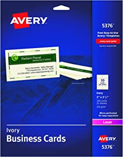 Avery Business Cards for Laser Printers 5376, Ivory, Uncoated, Pack of 250