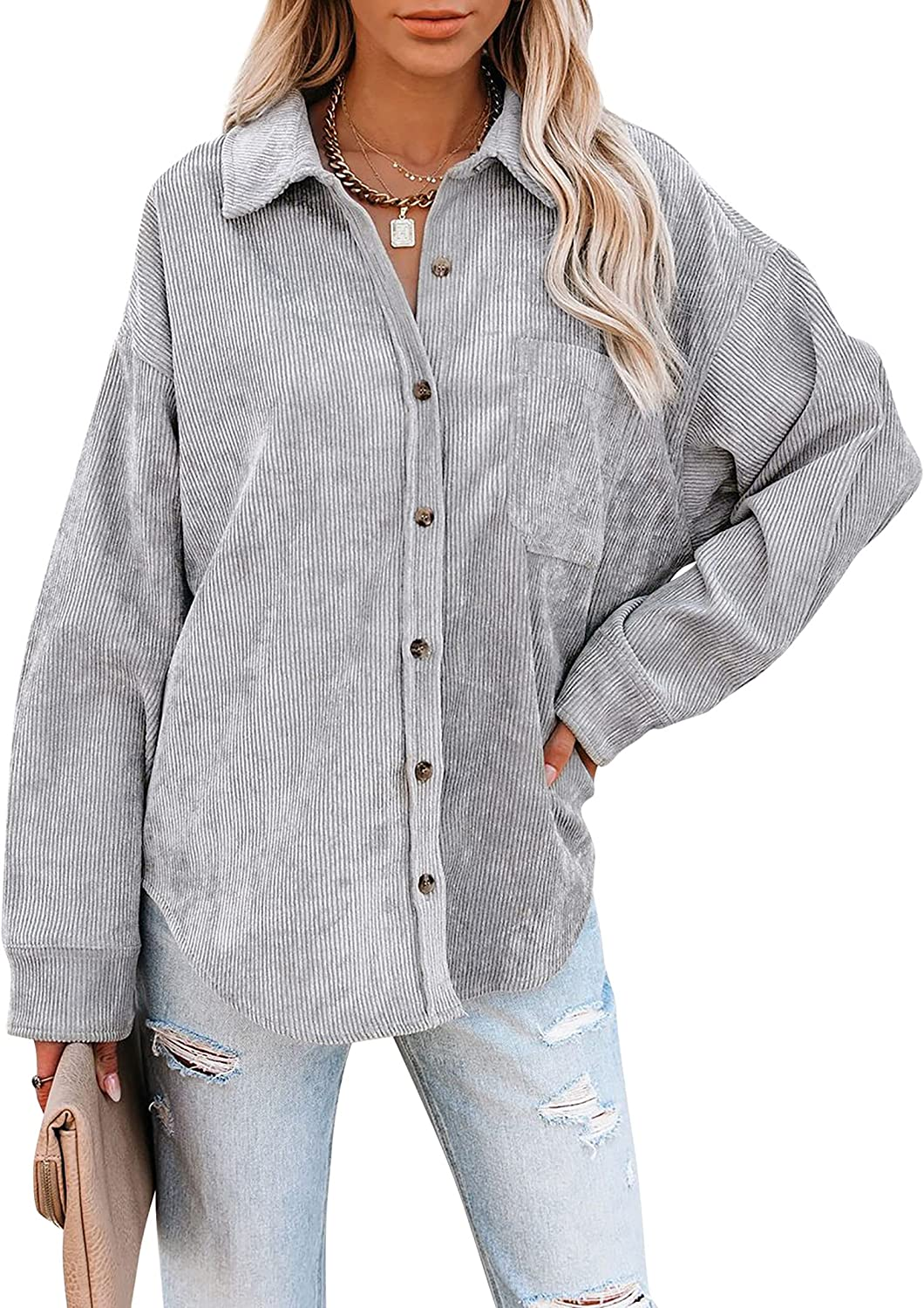 KOJOOIN Womens Corduroy Shirts Color Block Casual Long Sleeve Button Down Blouses Tops