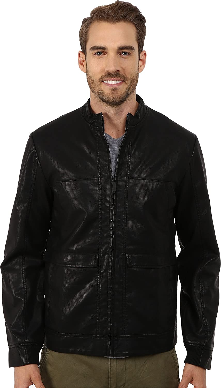 Perry Ellis Men's Textured Faux-Leather Bomber Jacket