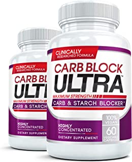 CARB BLOCK ULTRA (2 Bottles) Clinical Strength Carbohydrate & Starch Blocker Supplement with White Kidney Bean Extract - Lose Weight Without Dieting! 60 capsules per bottle