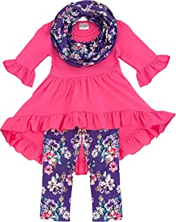 Amor Bee Little Girls Spring Colors Easter Florals Outfit Set with Scarf - Vintage Floral 3 Piece Top, Pants & Scarf