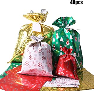 Christmas Gift Bags, 40Pcs Santa Wrapping Gift Bag in 4 Sizes and 4 Designs, with Ribbon Ties and Tags