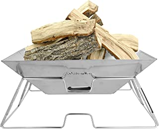 Wealers Camping Fire Pit Stainless Steel Portable Folding Grilling Stove Fire Bowl Backpacking Hiking Camp Ground Kitchen BBQ - Carrying Bag Included