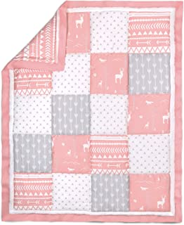 Coral Pink Woodland Patchwork 100% Cotton Crib Quilt by The Peanut Shell