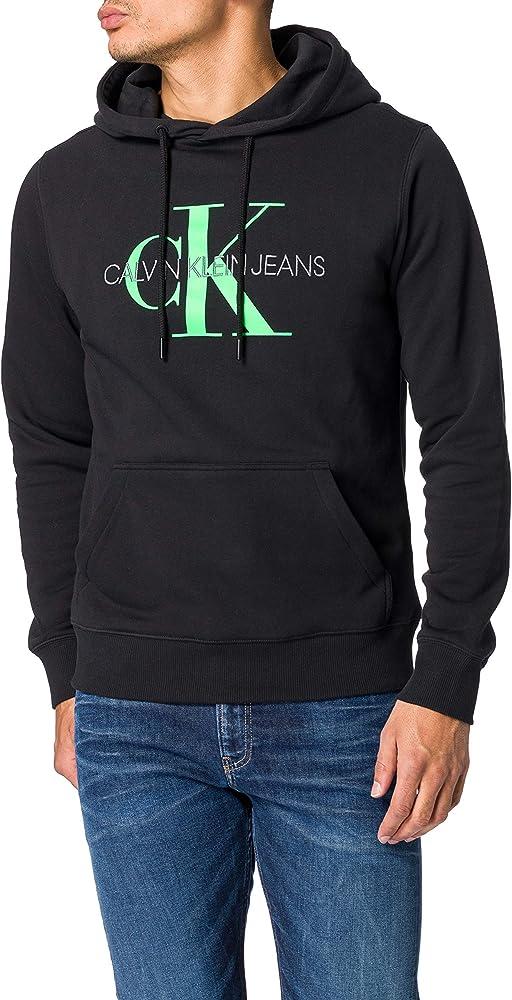 Calvin klein monogram reg hoodie, felpa con cappuccio per uomo,100 % in cotone J30J314557