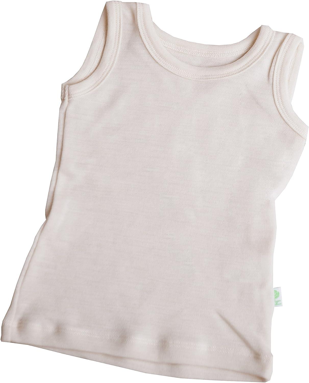GREEN ROSE Kids Sleeveless T-Shirts Undershirts Baby Girl Boy Tee Shirts 100% Merino Wool 3mo'-12yr.