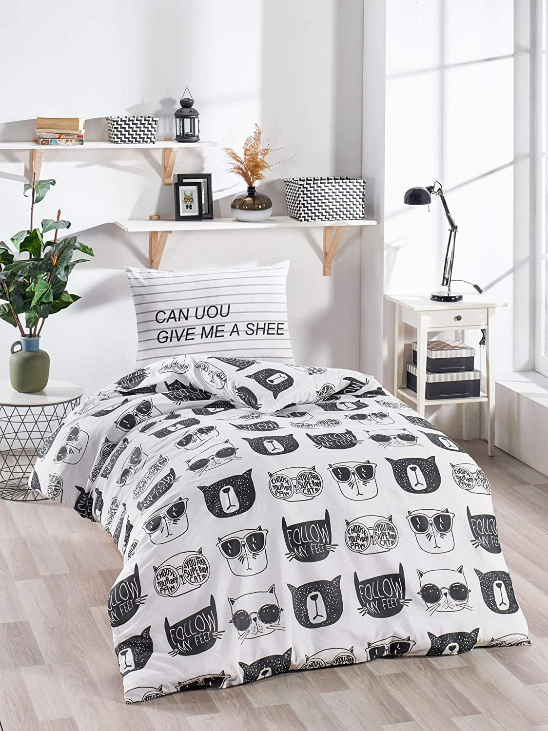Ozinci Cats Bedding Set Follow My Feet Themed Single Twin Size 1 Duvet Cover 1 Pillow Case Girls Boys Bed Set Comforter Included 3 Pcs Home Kitchen