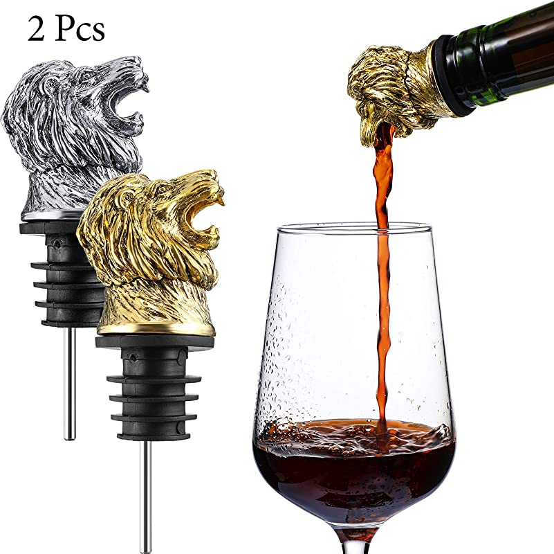 2 Pieces Lion Wine Pourer Wine Pourer Aerator Menagerie Wine Pourer Animal Pourer Stainless Steel Wine Stopper Pourer Wine Accessories Game Style