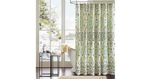 Madison Park MP70-1628 Nisha Shower Curtain 72x72 Teal 72 x 72,