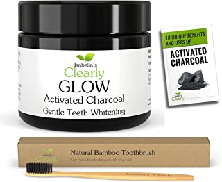 Isabella's Clearly GLOW Teeth Whitening Activated Charcoal + Soft Bamboo Toothbrush. 100% Pure Food Grade Non-GMO, Better than Strips, Bleach, Toothpaste. RISK FREE. Made in USA (20g)