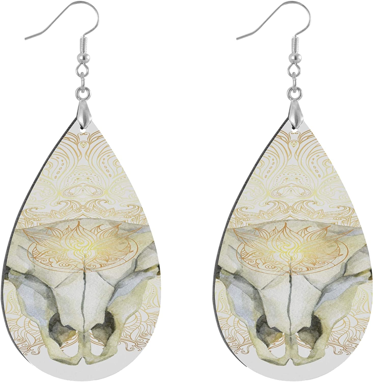 AQQA Ethnic Native American Design Bull Skull Earing Fashion Painted Dangle Geometric Personalized Cute Earrings for Women Water Drop/Leaf Statement Earrings for Women Lady Girls