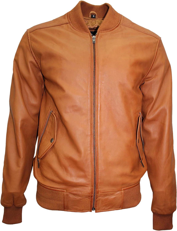 70'S Retro Bomber Men's Tan Classic Soft Italian Napa Leather Jacket 1229