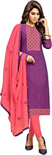 Salwar Suit with Dupatta for Women's Cotton Embroidered Non Stitched Dress Material, Indian Pakistani Wear