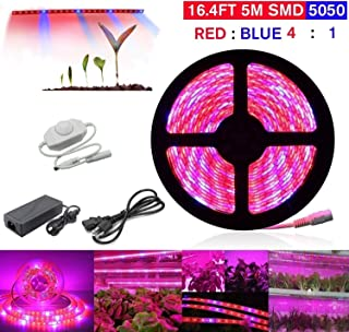 Topled Light LED Plant Grow Light, 16.4ft Grow Strip Light with Rotate Dimmer for Indoor Plants, Full Spectrum SMD 5050 Red Blue 4:1 Growing Rope Light for Aquarium Greenhouse Hydroponic(16.4ft)