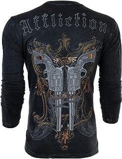 Affliction Mens Long Sleeve T-Shirt Dead OR Alive Guns Motorcycle Biker