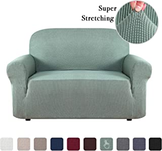 Flamingo P One Piece Loveseat Slipcover Stylish Furniture Cover/Protector Stay in Place with Spandex Stretch Durable Fabric, Dark Cyan, Loveseat
